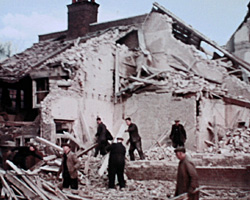 A still from [ARP at Work; Brighton Bomb Damage] (ca.1940)