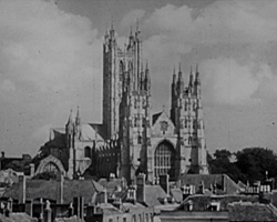 A Still from 'Cathedral City' (1949?) showing Canterbury Cathedral