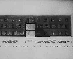 A black and white still image taken from TID 973, showing a architectural front elevation plan of the new South building for the hospital Outpatients department.